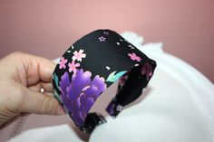 Japanese girl headband black&purple boho cotton print fabric head scarf for Womens with small head size and Girls, no slip hairband