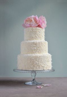 coconut wedding cake | Coconut wedding cake with fresh peoni… | By: Cupcake & Sons | Flickr - Photo Sharing!