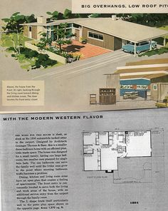 Mid Century Modern Ranch House Design Plans Awesome New Best Images About Atomic On Of Hous Mid Century Ranch, Mid Century House, Ranch House Plans, House Floor Plans, Modern Floor Plans, Midcentury Modern House Plans, Vintage House Plans, Vintage Homes, Modern Ranch