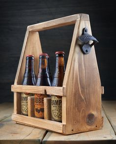 2 in 1 Handmade Beer Carrier Beer Tote Wooden by RockyMountainWood