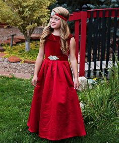 1a0e588b3f4c Just Couture Wine Red Amelia Satin-Velvet Blend Gown & Sash - Toddler &  Girls