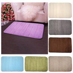 Salle de bains accessoires 100% tissu de velours corail mousse à mémoire tapis de bain salle de bain bandes horizontales tapis antidérapant tapis de bain