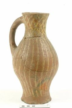 97.91: jug Production date: Medieval; late 13th-mid 14th century Measurements: H 350mm; W 240mm; DM (girth) 190mm