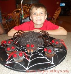 Spider cake and cupcakes