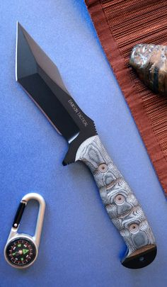 Dawson Knives Wraith Tactical Tanto Fixed Blade Knife Damascus Blade