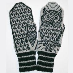 Ravelry: Nattugla/ Night Owl Mittens pattern by Jorid Linvik Owl Knitting Pattern, Mittens Pattern, Knit Mittens, Knitted Gloves, Knitting Socks, Knitting Club, Fair Isle Knitting, Knitting Charts, Crochet Mitts
