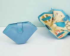 1940s Sewing Mending Kit Blue Satin Folding Wallet by Tparty, $7.90