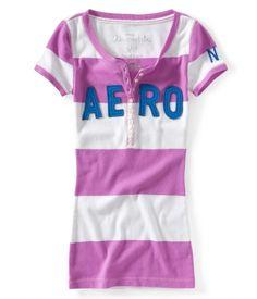 Aero Striped Applique Henley