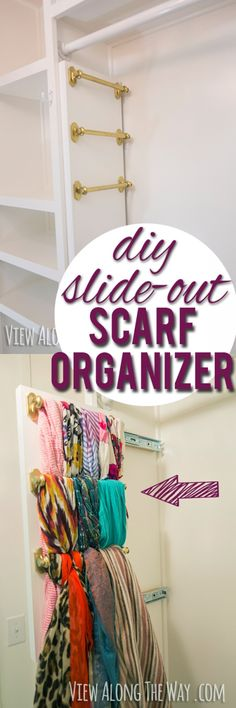 I totally need this! Brilliant way to hang your scarves - it slides out!