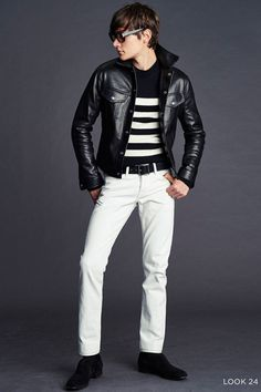 Tom Ford Spring/Summer 2016 Menswear Collection Bridges Gap Between Casual + Formal Styles Great Mens Fashion, Ford 2016, Leather Men, Leather Jacket, Calf Leather, Tom Ford Men, Hommes Sexy, Summer Lookbook, Fashion Show