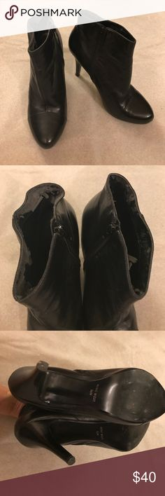 Nine West ankle leather booties In very good condition except peeling inside of shoes. Please see photos. 4 inch heels. True to size. Nine West Shoes Ankle Boots & Booties