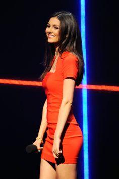 Victoria Justice flaunts red mini dress at the 2014 MTV Upfront Presentation
