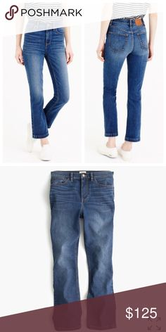 "J.Crew Demi boot crop PRICE FIRM. Our newest jeans are made in our comfort stretch denim and feature a high rise with a cropped, kicky hem that you can wear with heels and flats alike. It's the one pair your closet's been missing.  Cotton with stretch. Traditional 5-pocket styling. Machine wash. Sits above hip. Front rise: 10 3/4"". 26"" inseam. 14 3/4"" leg opening approx  No trades. All sales final. On trend J. Crew Jeans"
