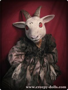 Creepy Evil 666 Goat Mourning doll with Red eyes by Bastet2329