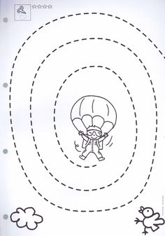 Spring Flying Parachute flying Sky diving Tracing page Pencil ✏️ page Sabbath Activities, Book Activities, Tracing Worksheets, Kindergarten Worksheets, Free Preschool, Preschool Activities, Teaching Kids, Kids Learning, Finger Gym