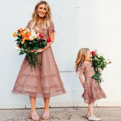 Parent-child Outfits, Fashion Pure Color Hollow Out Short Sleeve Mom Girl Matching Dress Mother Daughter Fashion, Mother Daughter Matching Outfits, Matching Family Outfits, Matching Clothes, Mommy And Me Dresses, Mommy And Me Outfits, Toddler Fashion, Girl Fashion, Fashion Kids