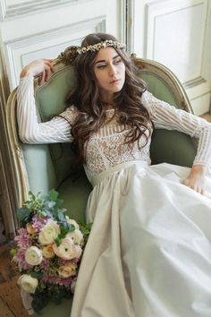 Long sleeved wedding dress by Katya Katya Shehurina + 10% saving on 'dress of the month'.