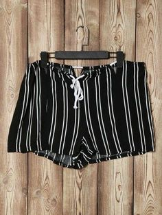 AdoreWe - Zaful High Waist Loose Striped Cut Out Shorts - AdoreWe.com