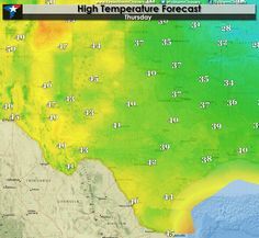Clouds On The Increase Today  After a very cold start this morning temperatures will rise decently by this afternoon but considering where they started off at its still going to be a cool day. Skies will become mostly cloudy by this afternoon across the southwestern half of Texas. High temperatures will be highest across... Read the whole article at http://texasstormchasers.com/?p=34443 - David Reimer