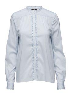 Day Birger et Mikkelsen Day Deema Tailored Trousers, Mandarin Collar, Uk Shop, Office Wear, Front Button, Stretch Fabric, Classic Style, Ruffles, Light Blue