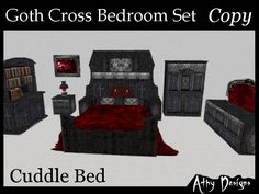 Second Life Marketplace  Goth Cross Cuddle Bedroom Set With Pg Unique Gothic Bedroom Furniture Inspiration
