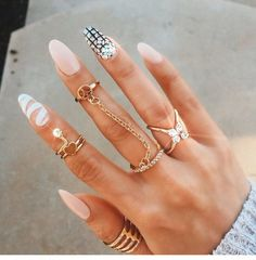Long stiletto nails w/ intricate patterns and adornment VixenTam Fabulous Nails, Gorgeous Nails, Pretty Nails, Pretty Nail Designs, Best Nail Art Designs, Fancy Nails, Love Nails, Chic Nails, Sparkle Nails
