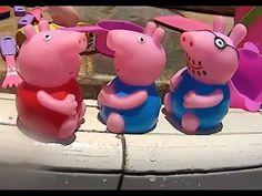 Peppa Pig Papai Pig Mamãe Pig George Pig da TV na piscina brincando Toys...