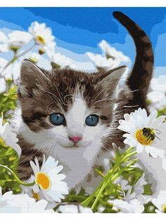 Cat In Flower Diy Paint By Numbers Kits .We Believe In Transparency! Shop with Confidence.This kit is custom designed for creative artists who want to test their skills! Follow the patterns provided or create your… #paintbynumbers #artnumbers #paintbynumberscat Diy Flowers, Flower Diy, Paint By Number Kits, Unique Paintings, Paint Set, How To Relieve Stress, Diy Painting, Create Yourself, Numbers