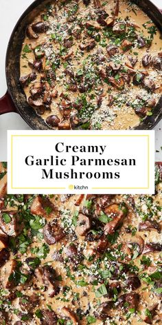 Creamy Garlic Parmesan Mushrooms A simple recipe for sautéed mushrooms in a rich and creamy garlic Parmesan sauce. - Creamy Garlic Parmesan Mushrooms Instantly Upgrade Everything They Touch Creamy Garlic Parmesan Sauce, Creamy Garlic Mushrooms, Sauteed Mushrooms, Creamed Mushrooms, Wild Mushrooms, Veggie Dishes, Vegetable Recipes, Vegetable Sides, Side Dish Recipes