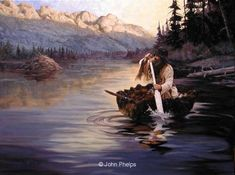 "paintings by John Phelps | Checking the Traps"" -Fur Trade Era Paintings by John Phelps"