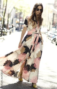 A bold floral maxi dress stuns all summer long with ankle-grazing femininity. Just one of the reasons our customers are loving our most gorgeous, brilliantly versatile and classic dress collection ever. We're spotting Banana Republic dresses all over the stylish summer streets. And may we add, you look amazing. Shop now. Your Life. Styled.