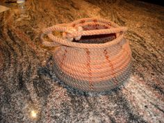 Lariat Rope Basket.  Made by soldering ropes together.
