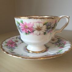 Royal Stafford Daisy Teacup and Saucer, Pink White Blue Flower, Footed Tea Cup and Saucer, English Bone China, Tea Party by CupandOwl on Etsy