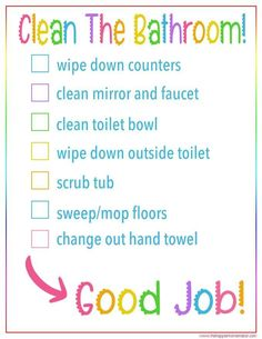Kid's Bathroom Cleaning Checklist Printable – Professionell Reinigen Bathroom Cleaning Checklist, Cleaning Checklist Printable, Toilet Cleaning, Cleaning Schedules, Deep Cleaning Tips, House Cleaning Tips, Spring Cleaning, Cleaning Hacks, Cleaning Solutions