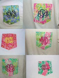Short Sleeve Lilly Pulitzer Monogrammed Pocket Tee. Coming to Pink in greenville, nc! CAN I HAVE ALL OF THESE?????