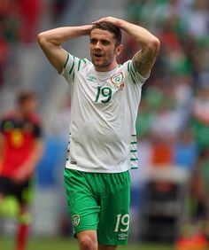 A dejected looking Robbie Brady of Republic of Ireland during the UEFA EURO 2016 Group E match between Belgium and Republic of Ireland at Stade...