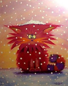 Art: Pink Cranky Snow Cat by Artist Cynthia Schmidt