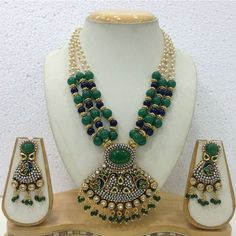 Green and Golden Color Mala Jewelry necklace for just Rs 3,280.00