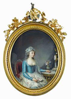 Portrait d'une femme portant une robe bleue, avec une lettre, attribué à Jean-Francois Garneray