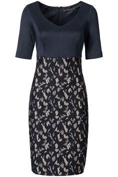Scuba jurk met kanten rok Blauw