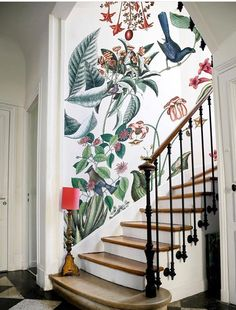 Home Decor Inspiration Bien fait.Home Decor Inspiration Bien fait Wallpaper Staircase, Wallpaper In Hallway, Home Decor Trends, Decor Ideas, Art Ideas, Style At Home, Home Fashion, Interior And Exterior, Interior Stairs