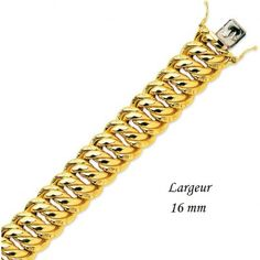 BIJOUX FEMMES : Bracelet or jaune femme gourmette américaine en or 18 carats. https://www.facebook.com/media/set/?set=a.672564886138162.1073741828.118460361548620&type=3