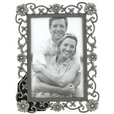 """4"""" x 6"""" Silver Photo Frame with Scroll & Jewels"""