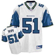 Reebok Seattle Seahawks Lofa Tatupu 51 White Authentic Jerseys Sale