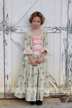 This listing is for a colonial dress in the style shown in these pictures and a matching 18 inch doll dress. It has a contrasting inset on the