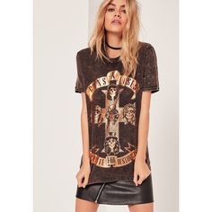 Missguided Guns and Roses Foiled T Shirt ($31) ❤ liked on Polyvore featuring tops, t-shirts, grey, over sized t shirt, gray tees, rosette top, foil t shirts and slogan tees