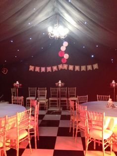 Just Married - Party Marquee with Chivari Chairs and Black Star Cloth Lining and Black and White Dance Floor Wedding Marquee Hire, Cork Wedding, Just Married, Getting Married, Black Star, Black And White, Marvel Wedding, Dramatic Effect, Round Tables