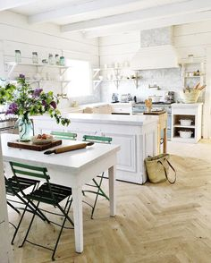 We have a few drawers we still have to make along with putting the baseboard back up on the peninsula. The French market baskets are… Beautiful Kitchens, Beautiful Interiors, Rue Verte, Home Decoracion, Interior Decorating, Interior Design, Interior Ideas, Le Moulin, Ikea