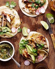 konsthallen: (via Grilled Chicken Tacos - Bon Appétit) Grilled Chicken Tacos, Chicken Taco Recipes, Mexican Food Recipes, Dinner Recipes, Marinated Chicken, Party Recipes, Grilled Cabbage, Taco Chicken, Mexican Chicken