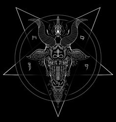 Stylized sigil of Baphomet. This would look beautiful wreathed in watercolor style flowers.